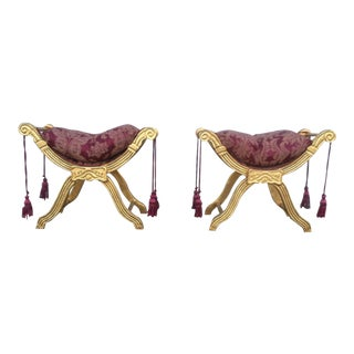Giltwood X Form Benches - A Pair