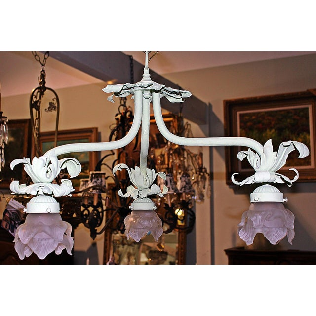 French Country 1920s Painted French Wrought Iron Chandelier For Sale - Image 3 of 7