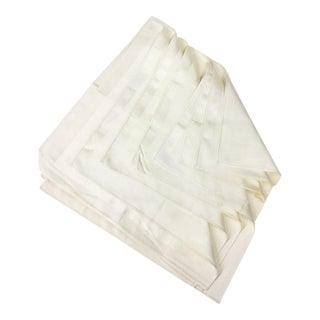 Vintage Damask Cotton Silk Napkins - Set of 7 For Sale