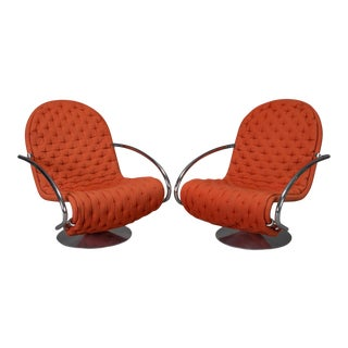 "Verner Panton for Fritz Hansen ""1-2-3"" Series Easy Chairs - A Pair For Sale"