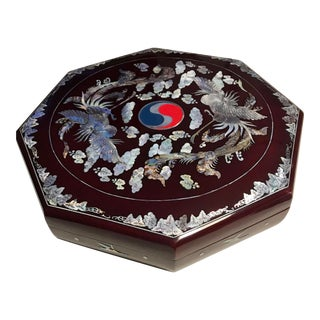 Vintage Handmade Korean Air Mother of Pearl Inlay Lacquer Divided Tray For Sale