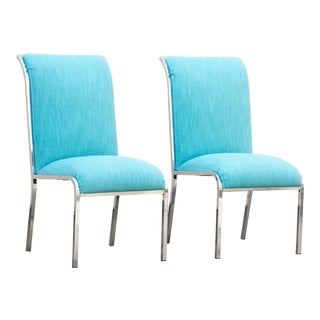 Pair of Modern Chrome Dining Chairs by Milo Baughman for Design Institute of America For Sale