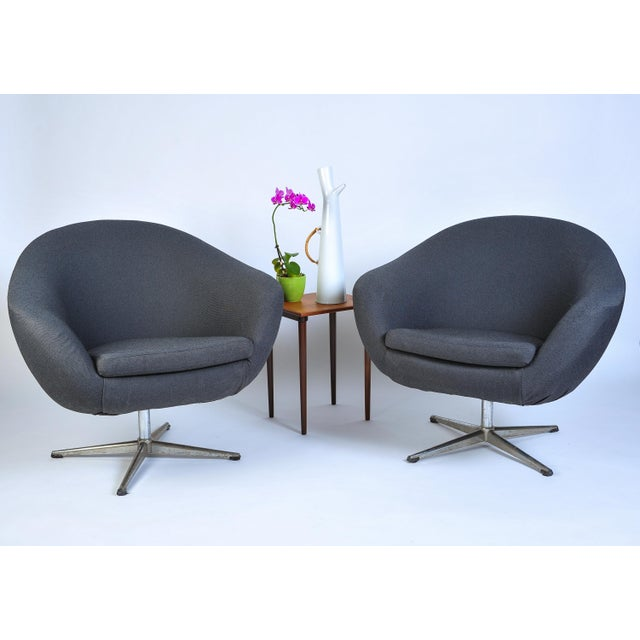 Danish Modern Overman Pod Swivel Chairs - A Pair For Sale - Image 3 of 8