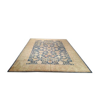 10′1″ × 13′6″ Traditional Handmade Knotted Rug Blue and Gold - Size Cat. 10x14 For Sale