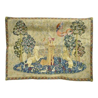 "40"" X 29"" French Wall Hanging Tapestry Jacquard Medieval Lady and the Unicorn For Sale"
