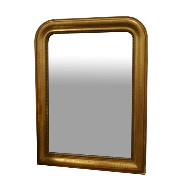 Mid 19th Century Gold Leaf Louis Philippe Mirror With Diamond Design For Sale - Image 5 of 5
