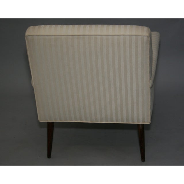Mid-Century Modern Ivory Stripe Lounge Chair - Image 5 of 8