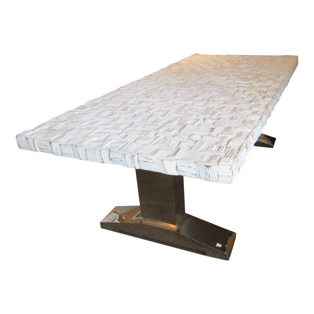 Raw Wood Block & Chrome Pedestal Dining Table For Sale