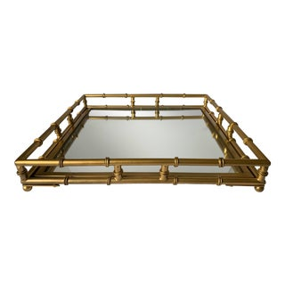 Gold Metal Faux Bamboo Mirrored Square Tray For Sale