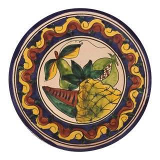 Antique Terra Cotta Italian Majolica Hand Painted Fruit Wall Plate For Sale