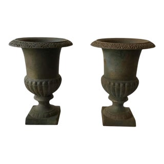 Pair of 1970s Iron Urns For Sale