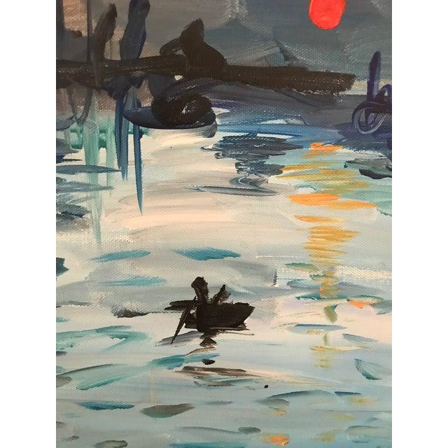 "Art Student's Copy of Monet's ""Impression:Sunrise"" 1980s For Sale - Image 4 of 8"