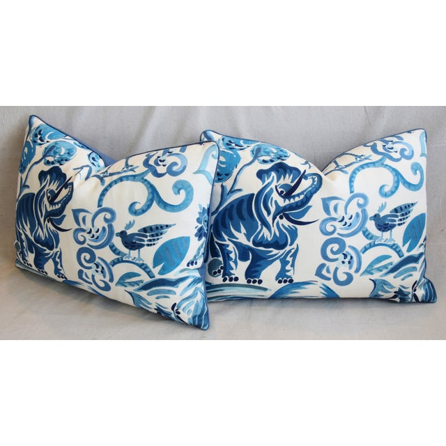 """P. Kaufmann Blue & White Animal Feather/Down Pillows 22"""" X 16"""" - Pair For Sale - Image 10 of 13"""