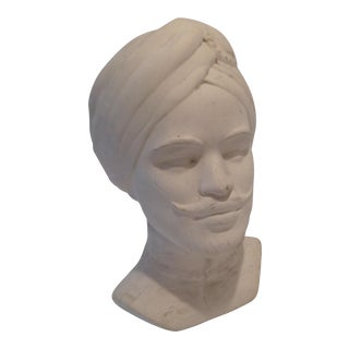 Plaster Bust With Turban and Mustache For Sale
