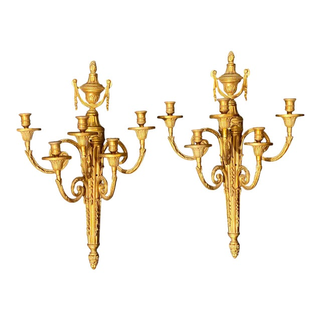 Adams Style Five Arm Tassel Decorated Dore Bronze Wall Candelabras - a Pair For Sale