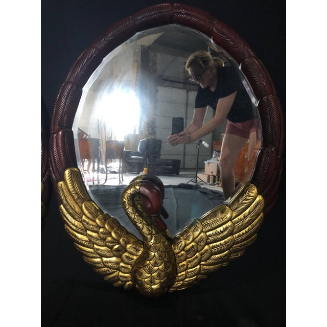 Hollywood Regency Hollywood Regency Oval Mirrors With Gold Gilt Swan Figures -A Pair For Sale - Image 3 of 9