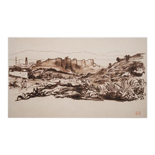 "Boho Chic Lithograph ""The Walls of Tangier"" by Delacroix, 1959 For Sale"