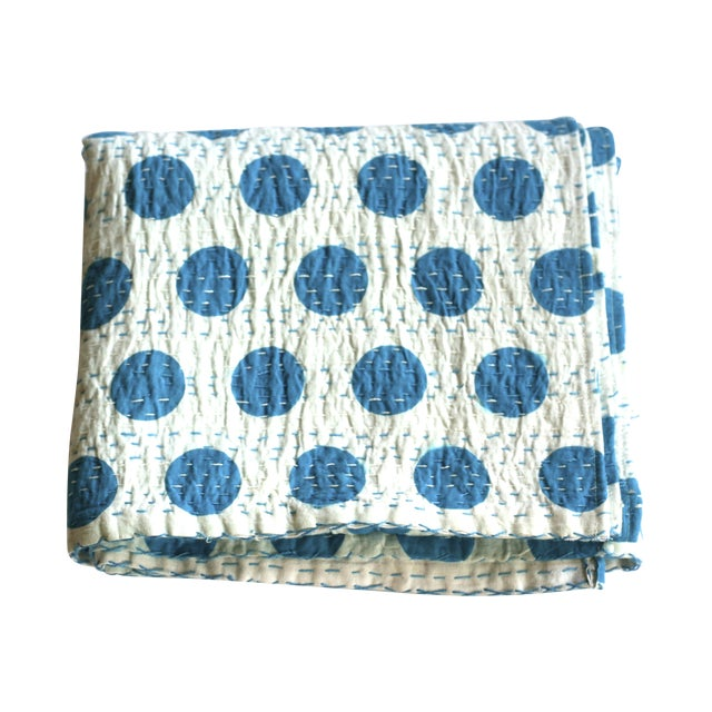 Blue Polka Dot Throw - A Full - Image 1 of 5