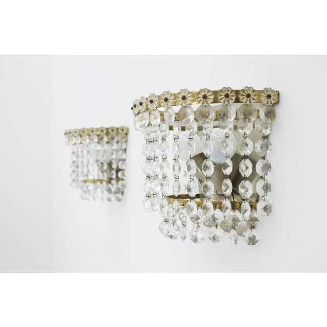Mid-Century Modern One of Four Wall Sconces by Bakalowits Austria Crystal Glass 1960s For Sale - Image 3 of 5