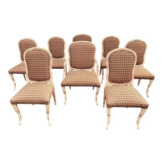 1970s Vintage Serge Roche Style Carved Wood Dining Chairs - a Set of 8 For Sale