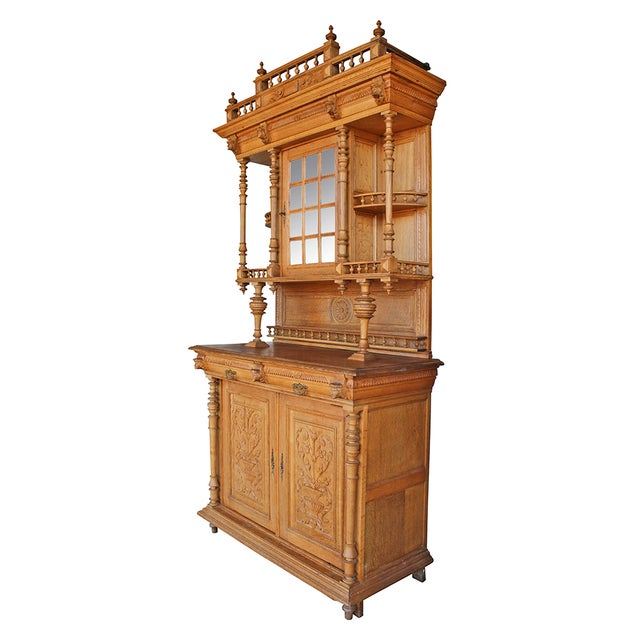 Antique Ornate Carved Oak Buffet - Image 2 of 5