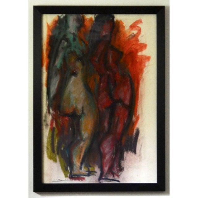 Hans Burkhardt Authentic Hans Burkhardt Original Pastel 'Two Nudes' 1963 For Sale - Image 4 of 4