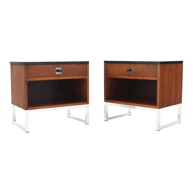 Pair of Walnut & Chrome Nightstands For Sale