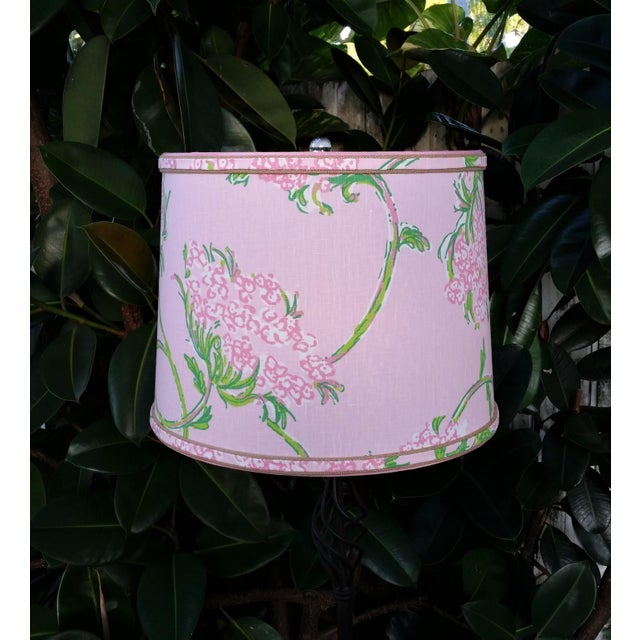 Metal Large Lampshade Lilly Pulitzer Fabric Floral Pink For Sale - Image 7 of 11