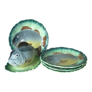 "Majolica ""Goodfrient"" Fish Dinnerware Set - 5 Pc. Set For Sale"