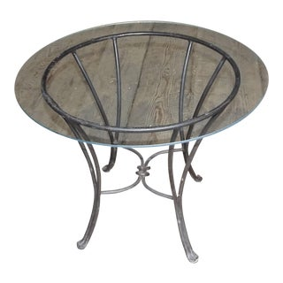 20th Century Wrought Iron Glass Top Coffee Table For Sale