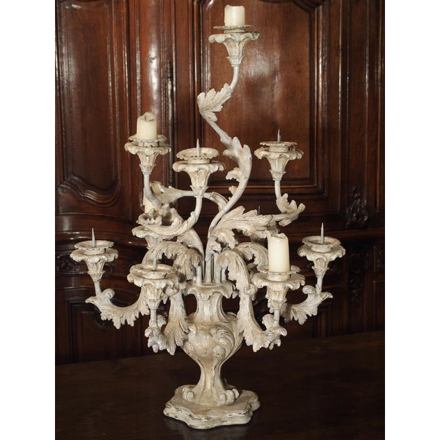 Metal French Blue Gray Painted Rococo Style Table Candelabra For Sale - Image 7 of 10