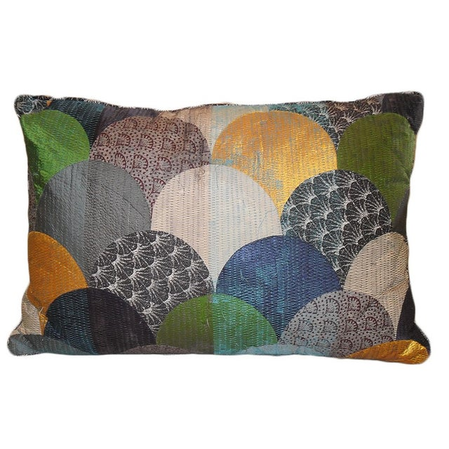 Multi-Colored Patchwork Geometric Pillow - Image 1 of 2