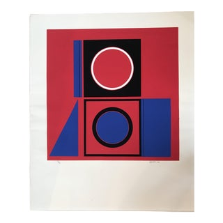 Robert Hunter (B. 1928) Serigraph Red, Blue 1972 For Sale