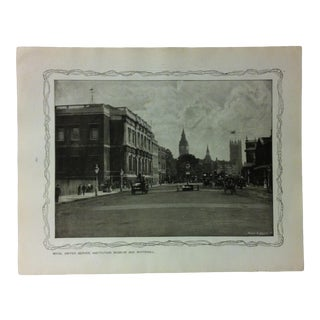 """1906 """"Royal United Service Institution Museum and Whitehall"""" Famous View of London Print For Sale"""