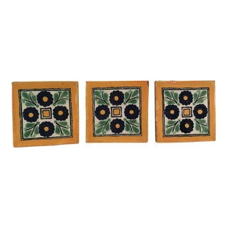 Vintage Terra Cotta Accent Tiles - Set of 3 For Sale
