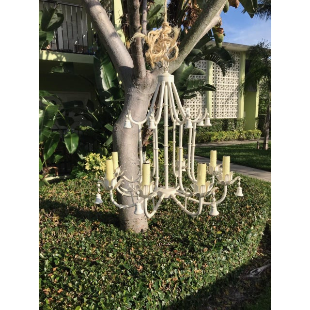 1970s White Faux Bamboo Pagoda Chandelier For Sale In Miami - Image 6 of 6