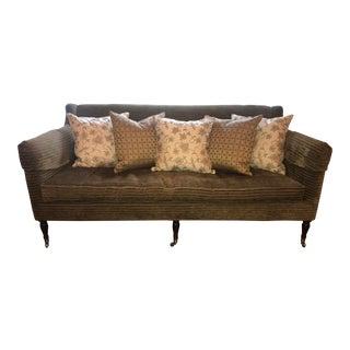 Lillian August Tudor Style Dark Green Silk Sofa