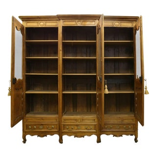 French Provincial Walnut Armoire Cabinet For Sale