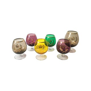 Colored Glass Crested Brandy Snifters - Set of 6