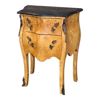 1970s Marble Top Two Drawer Yew Wood Italian Style Bombe' Accent Chest For Sale