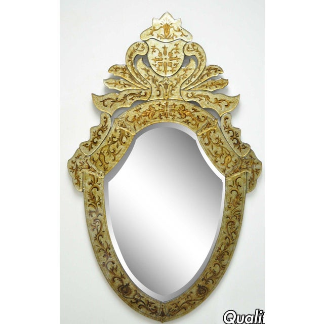 "47"" X 29"" Decorator Contemporary Venetian Style Gold Etched Shield Wall Mirror For Sale - Image 11 of 11"