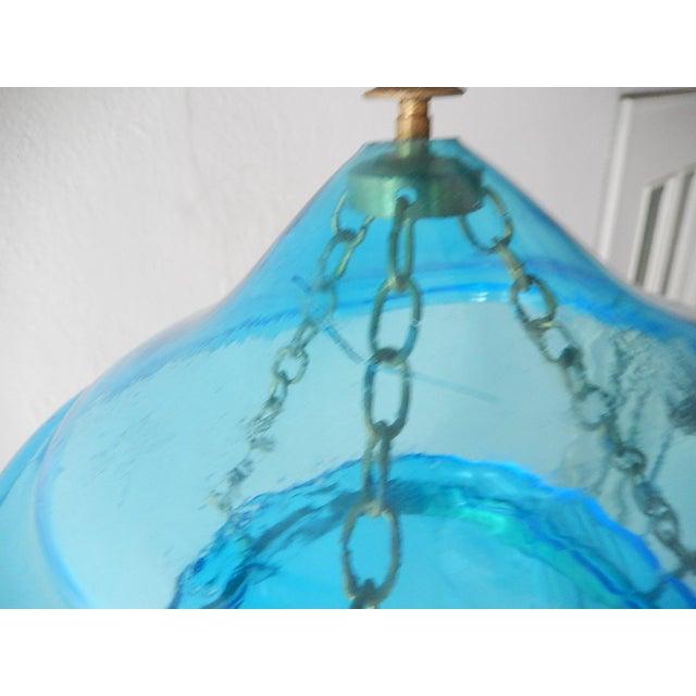 Metal English Cobalt Blue Bell Jar Lantern Chandelier For Sale - Image 7 of 13