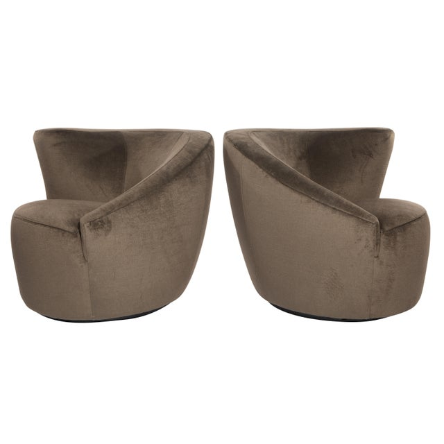 """Brown 1990's Vintage Vladimir Kagan """"Corkscrew"""" Swivel Chairs- A Pair For Sale - Image 8 of 9"""