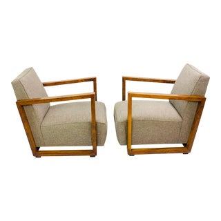 1930s Art Deco Walnut Club Armchairs - Austria - a Pair For Sale