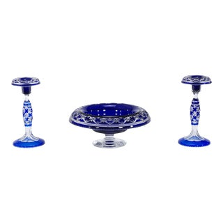 Rare Val St. Lambert Cobalt Blue Three-Piece Centerpiece Set, Cathedral Pattern For Sale