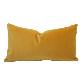 Contemporary Saffron Yellow Velvet Pillow Cover - 14x24 For Sale