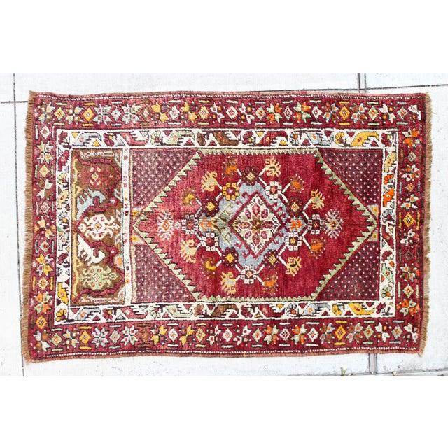 Vintage Turkish Rug, Berry & Mint - 2′2″ × 4′2″ - Image 2 of 4