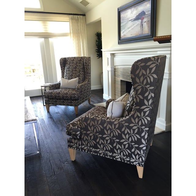 Contemporary Custom Gray Club Chairs - A Pair - Image 3 of 6