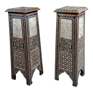 "Vintage Syrian ""Tower Shaped"" Petite Inlaid Stands - a Pair For Sale"
