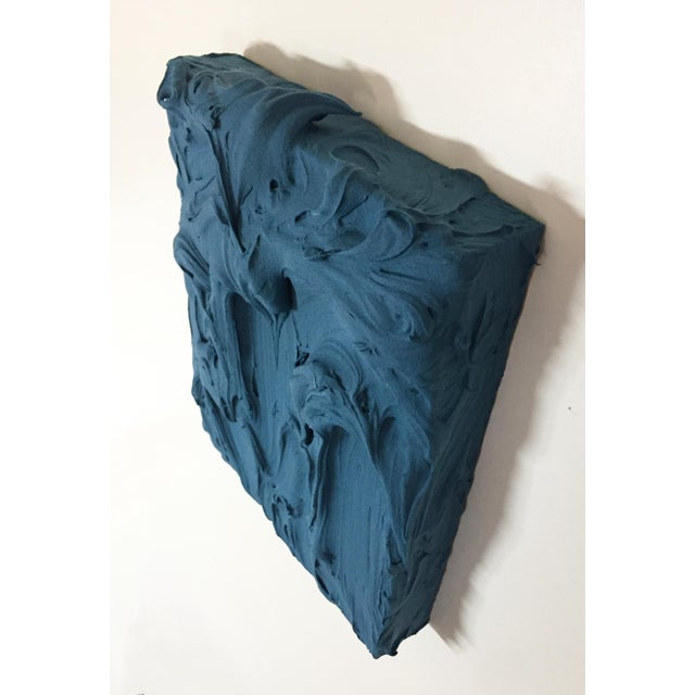 Deep Teal Excess Sculptural Painting For Sale In Austin - Image 6 of 11